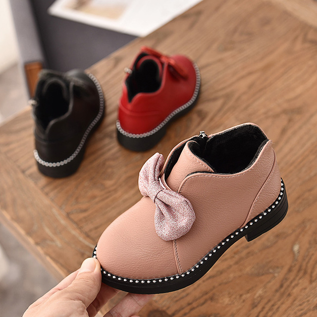 35b21261e03e Girls Shoes Bow Children s Rubber Boots 2018 Autumn and Winter Teenage  Girls Fashion Snow Boots Princess Shoes for Toddler Girls