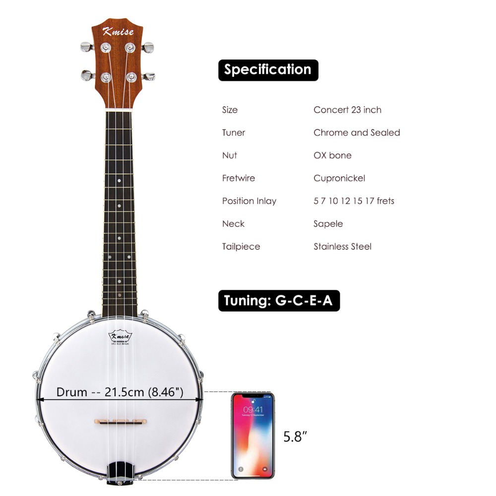 Kmise Ukulele Banjo Concert Ukelele 4 String Uke 23 inch Sapele Polyester Film Drumhead with Gig Bag Tuner