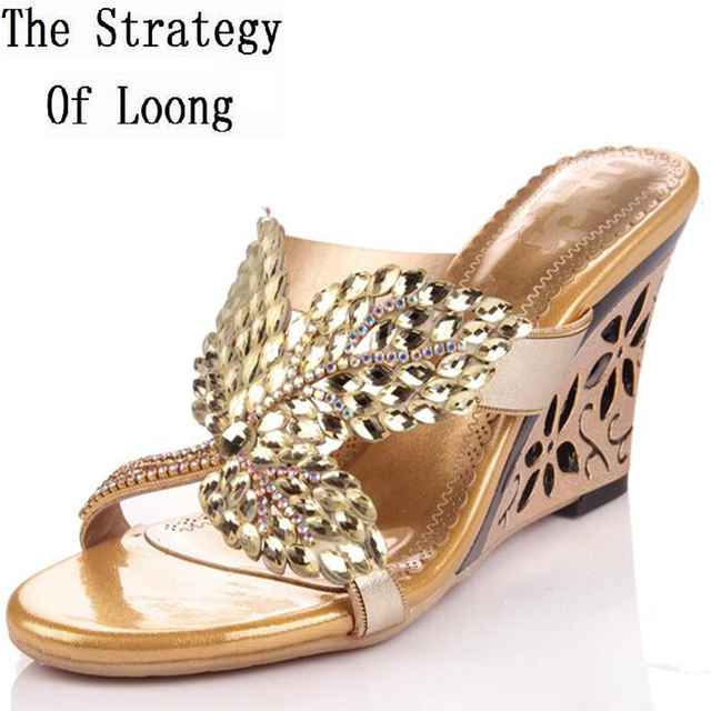 28cf8d9e4 Genuine Leather Summer Sandals Wedge Heels Women Crystal Slides Lady  Rhinestones Leaf Cut Out Heels Slippers Plus Size 40 41