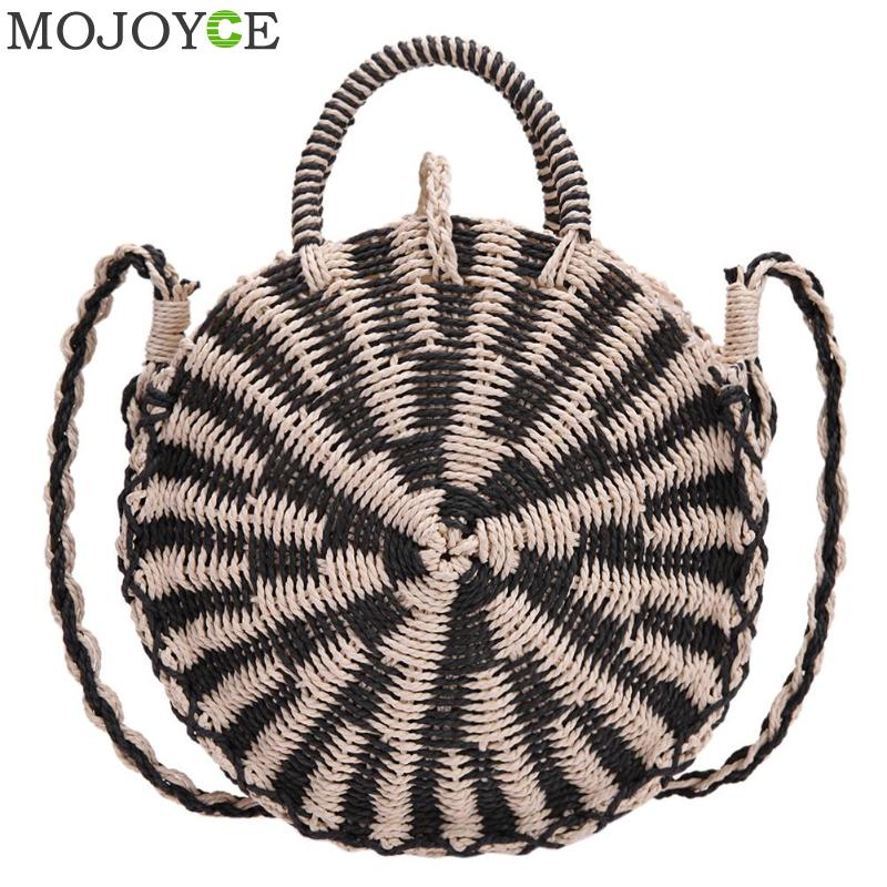Tote Knit Bags for Women Straw Beach Bag Summer Round Straw Shoulder Bag Bohemian Handmade Woman Small Crossbody Handbag Women women bohemian straw bags ladies small beach weave handbag tote handmade summer wicker basket ribbons rattan holiday travel ins