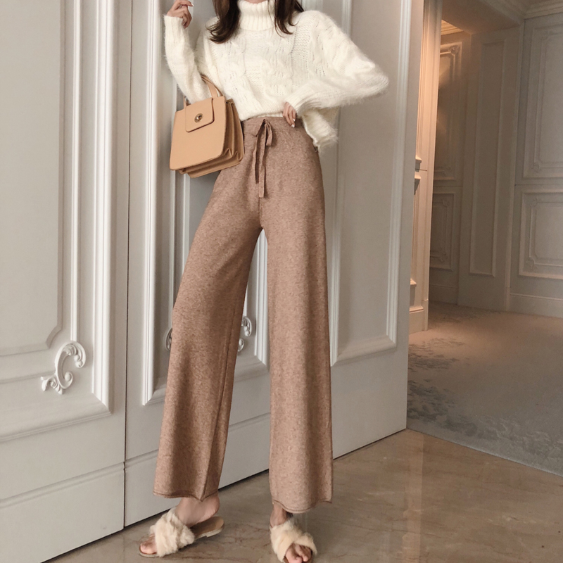 JUJULAND Self Belted Box Pleated Palazzo   Pants   Women Elegant Loose Long   Pants   2018 Fall Ginger High Waist   Wide     Leg     Pant
