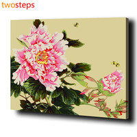 Peony Flower DIY Digital Canvas Oil Painting By Numbers Frameless Pictures Coloring By Numbers Acrylic Paint