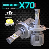H4 LED H7 X70 Car headlight bulb H11 9005 9006 XHP70 Chip 60W\120W turbofan IP68 12V 24V 7800LM/15600LM D type series universal