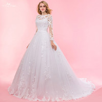 RSW1323 Real Pictures Yiaibridal Keyhole Back Embroidered Flower Applique Long Sleeve Muslim Wedding Dress