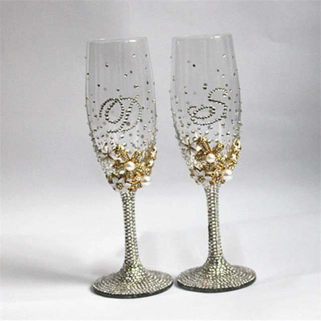 1 pair personalized wedding champagne glasses bride and groom glasse