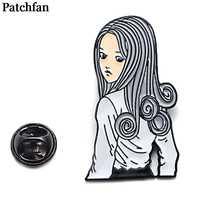 Patchfan Giapponese horror Junji Ito Uzumaki di Zinco tie Spilli zaino abbigliamento spille per le donne degli uomini decorazione badge medaglia A2065