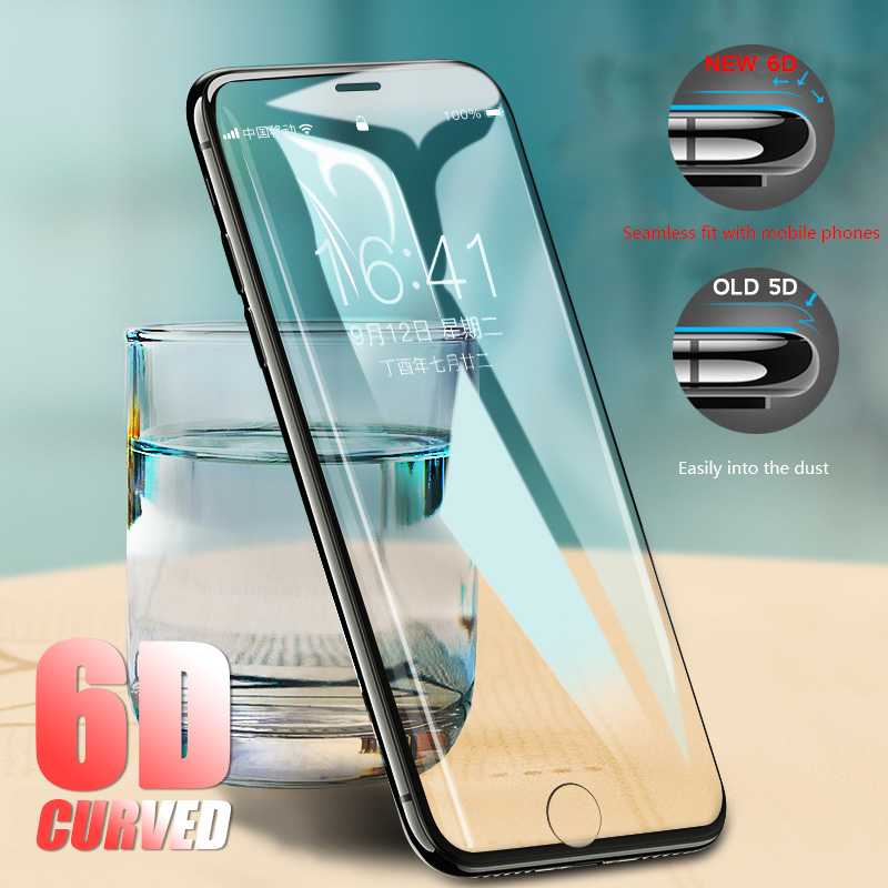 6D 360 Curved Edge Tempered Glass For iPhone 7 6s 8 Plus Screen New 5D Glass For iPhone 6 6S 7 8 Plus Full Cover Protector Film ...