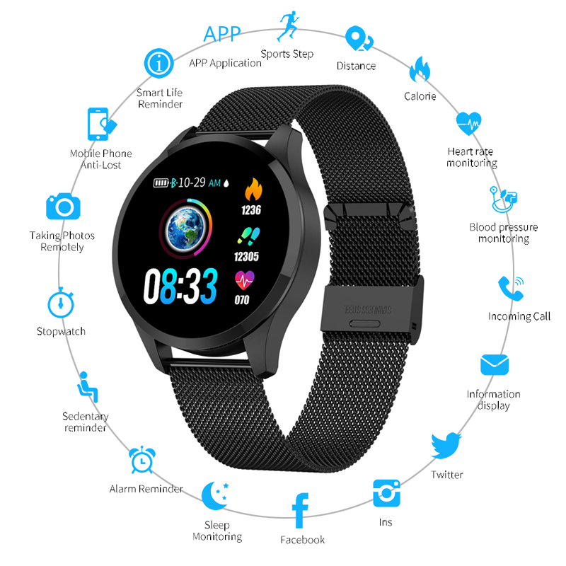 NEW Blood Pressure Heart Rate Monitor Smart Watch IP67 Waterproof Sport Fitness Tracker Color Screen Smart Watch For IOS Android