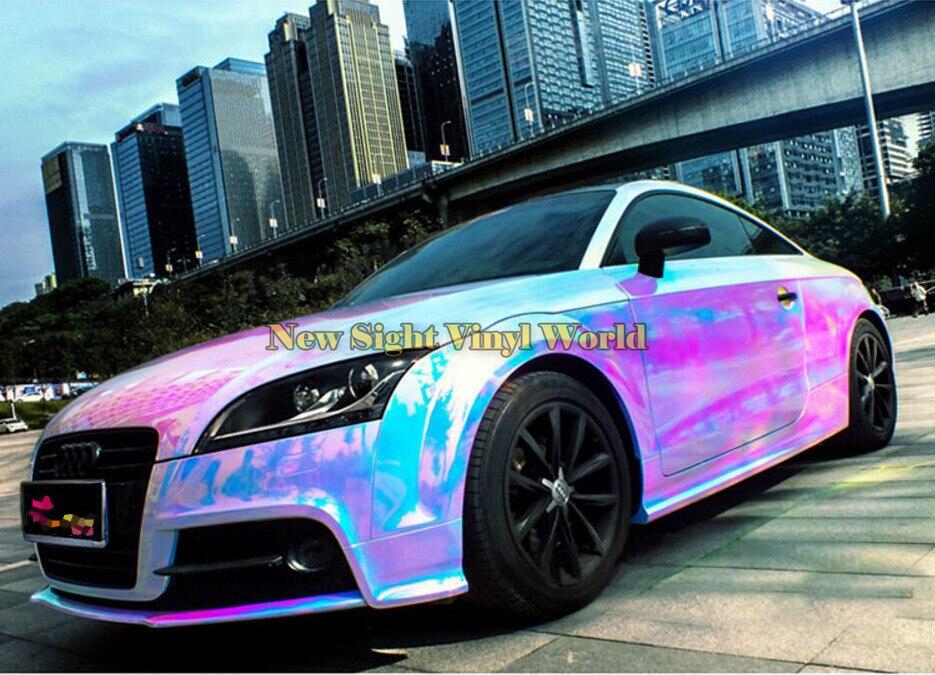 Autocollant en vinyle chromé arc-en-ciel rose haut de gamme Film vinyle arc-en-ciel sans bulles pour Film de carrosserie