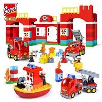 Duże Bloki Miasta Ogień Dział Strażacy Building Blocks Det Dzieci DIY Cegły Zabawki Kompatybilny Z Duploe Na Prezenty Dla Dzieci