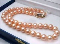 Hot selling ******** new 17 AAA 10 9 MM SOUTH SEA NATURAL GOLD PINK PEARL NECKLACE CLASP