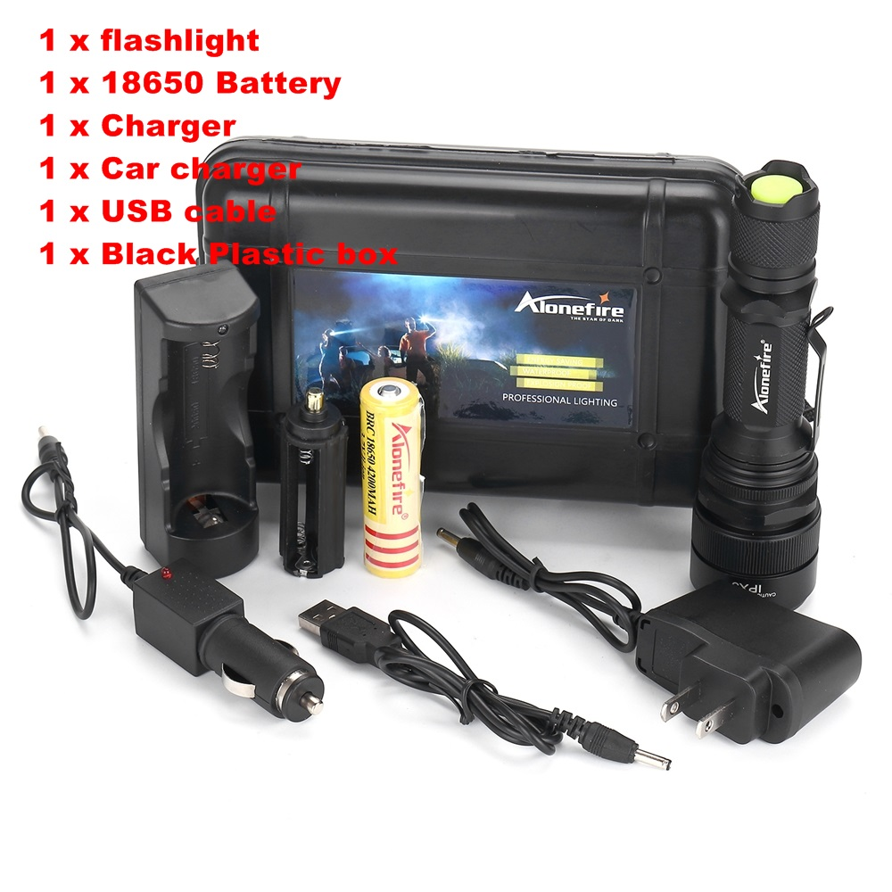 Alonefire G910 LED Zoomable USB Flashlight Torch light CREE XM-L T6 waterproof zoom torch with 18650 Battery and charger zk35 cree xm l 3800 lm q5 led flashlight torch zoomable light black led bicycle light with battery and charger holder
