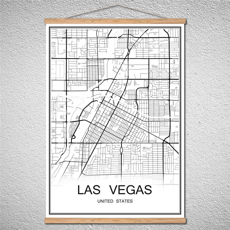Customized Pattern <font><b>LASVEGAS</b></font> Modern World map City poster Abstract print picture oil painting Canvas With Frame Cafe Living Room image