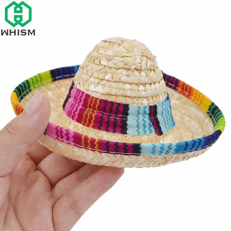 b46cf639 ... WHISM Mini Pet Dogs Caps Sombrero Sun Hat Beach Party Straw Hats Dogs  Mexican Style Hat ...