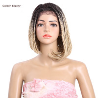 Golden Beauty 6-14inch Short Braided Box Braids wig Synthetic Lace Front Wig Ombre Bob Wigs for Black Women