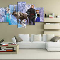 Frozen Poster Wall Art Canvas Painting 5 Pieces Cartoon Children Wall Pictures Kid's Room Girls Mural Art Print Home Decoration