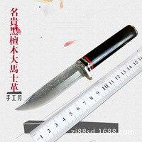 سكين صيد مستقيم مزورة من الفولاذ الدمشقي عالي الجودة 62HRC سكينة للدفاع عن النفس خارجية سكينة تكتيكية للجيش للبقاء على قيد الحياة|سكاكين|أدوات -