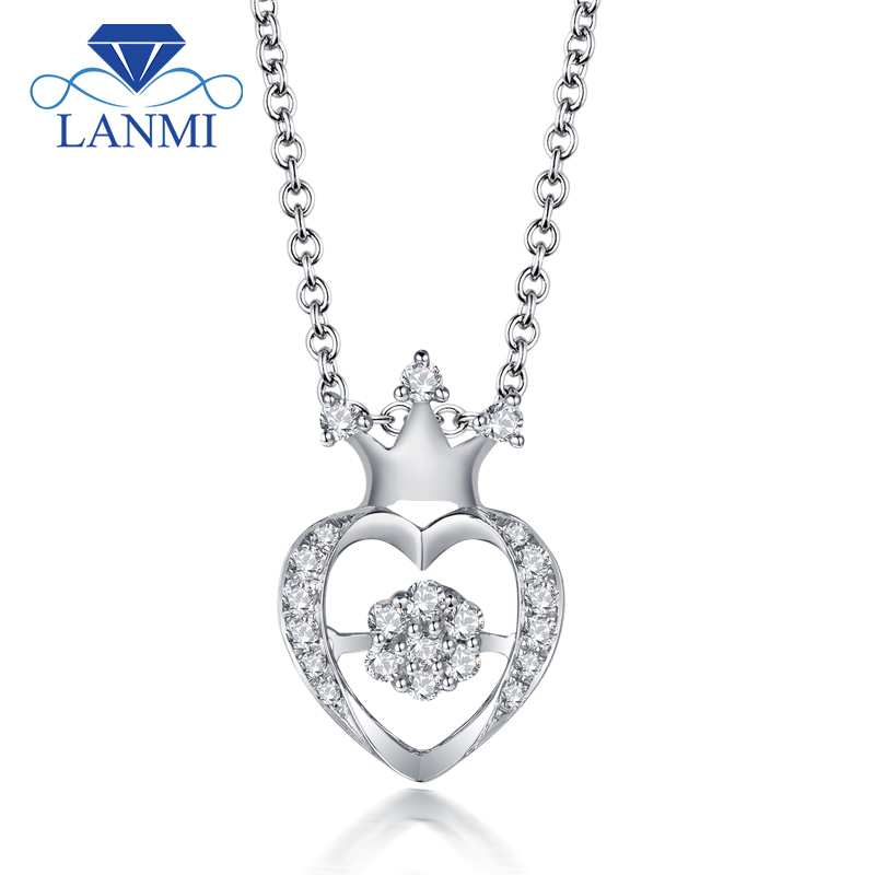 New Arrival Elegant Diamond Wedding Pendant Solid 18K White Gold Trendy Women Anniversary Loving Valentine's D Gift