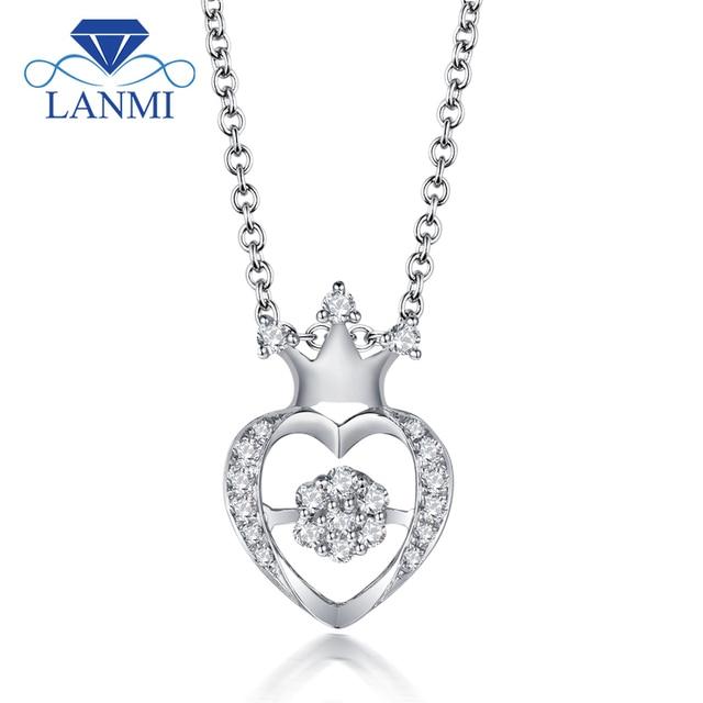 LANMI New Arrival Elegant Diamond Wedding Pendant Solid 18K White Gold Trendy Women Anniversary Loving Valentine's Day Gift