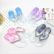 2017 Summer season Ladies's Clear Gradient Shade Crystal Flat Flip Flops Slippers four Colours 36-40