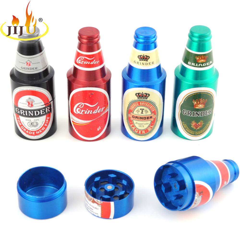 JIJU Beer Bottle Style New Metal Weed Herb Grinders Tobacco Cigarette Crusher Shredder Dry Pipe And Smoking Accessories JL-207J