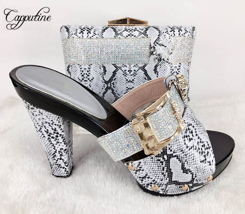 Capputine High Quality Decorated With Rhinestone Shoes And Bag Set Italian Design Matching Shoes And Bag Set For Wedding Party capputine italian fashion design woman shoes and bag set european rhinestone high heels shoes and bag set for wedding dress g40