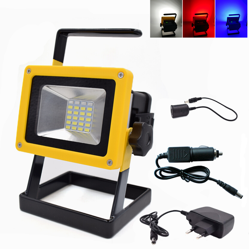 Portable 10W Rechargeable Led Floodlights IP65 Waterproof Outdoor Lighting  LED Flood Light Emergency Lamp With Blue
