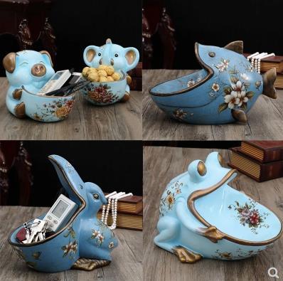 Grenouille poisson toucan éléphant cochon, artisanat de décoration de bureau à la maison, mobilier animal rétro, peut être utilisé comme plateau de bonbons, stockage des clés