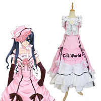Black Butler Kuroshitsuji Ciel Phantomhive Sleeveless Lace Maid Court Full Dress Uniform Outfit Anime Cosplay Costumes