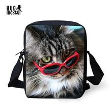 Messenger Bag Mujeres Pet Cat Impresión Small Cross bolsas de cuerpo para niños hombres bolso de hombro con cremallera bolsillo Sac Femme 2018
