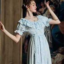 Pure Cotton Nightdress Summer Thin Sexy Slash Neck Long Nightgowns Female Palace Princess Wind Woman Sleepwear HS3057