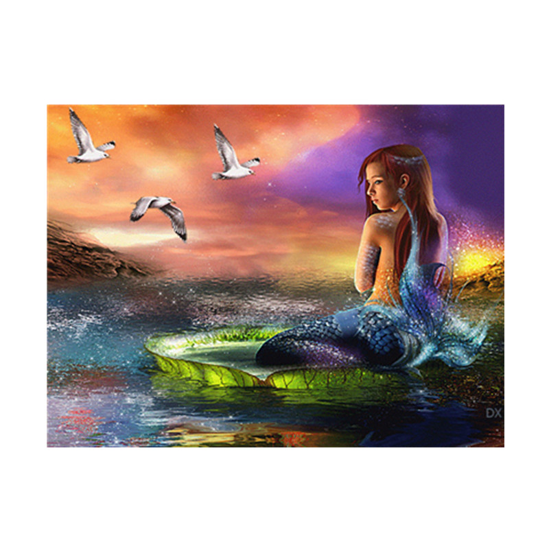 5D DIY full round diamond painting mermaid cross stitch embroidery mosaic diamond rhinestone home decoration gift in Diamond Painting Cross Stitch from Home Garden