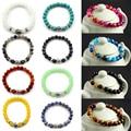Unisex Women Men New Hot Fashion 2016 Charming Lava Turquoise Beads Onyx Yoga Buddha Bracelet Jewelry Gift