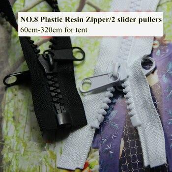 b0d25e65fc8 2 unidades piezas tienda cremallera n. ° 8 plástico resina cremallera 60 cm  320 largo apertura extremo doble deslizador tirador Blanco Negro  personalizado ...