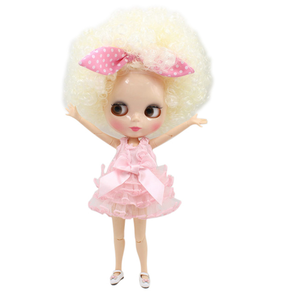 Blyth doll yellow curl hair with big hair JOINT body White skin 1 6 factory QE300