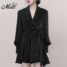 Max Spri 2019 New Sexy V Neckline Wrap Ruched Blouson Sleeves Bodycon Mini Robe Black Dress Party Outfit Summer Dress
