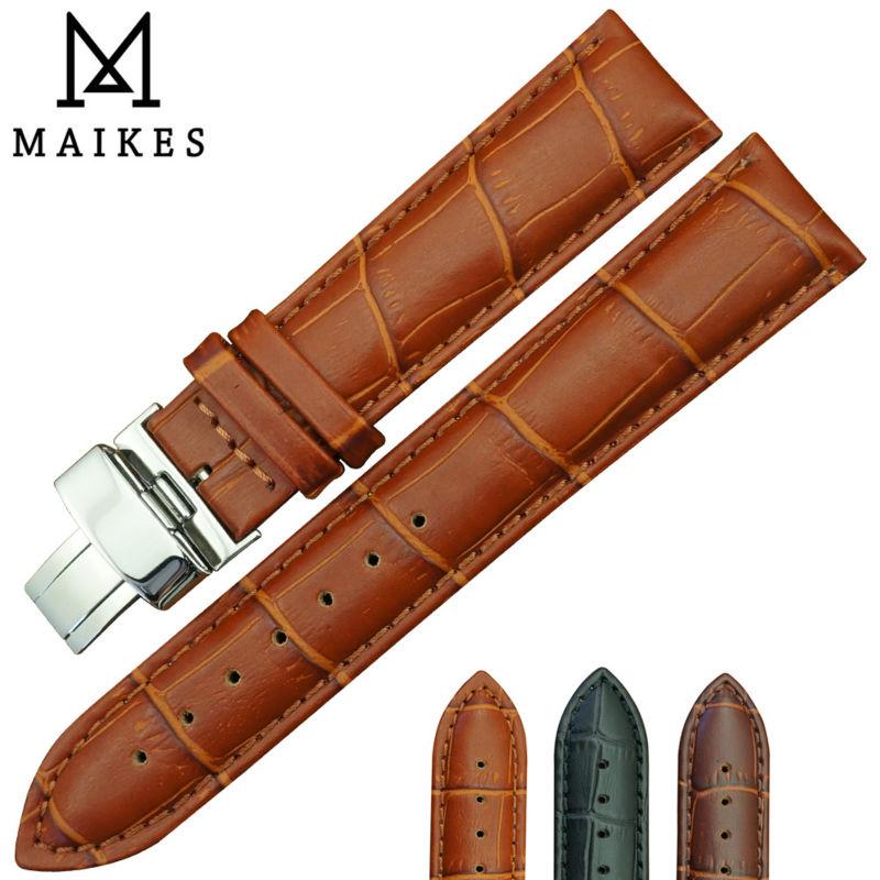 Prix pour MAIKES Vente Chaude Véritable Veau En Cuir Bracelet de Montre De bande 16mm 18mm 20mm 22mm 24mm Butterfly motif Boucle Déployante Boucle
