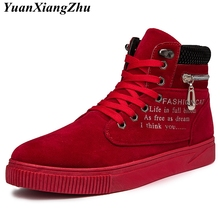 Hot 2018 Sp Autumn Lace-Up Men's Canvas Shoes Red/Black Man Zip Casual Ankle Boots Winter Fashion Leather Shoes Mens Flatsring