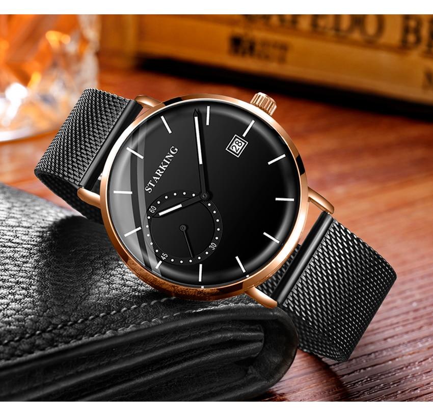HTB187FzelWD3KVjSZFsq6AqkpXaS STARKING Dress Men Watch Steel Mesh Band Quartz Analog Wristwatch 3ATM Waterproof Curved Glass Blue Male Clock Relogio Masculino