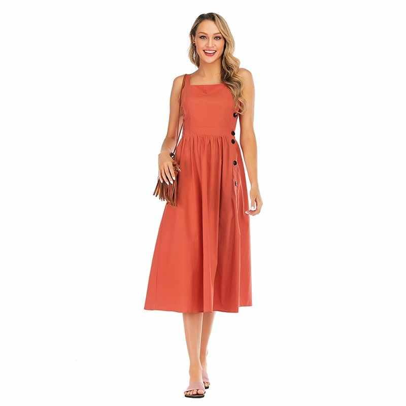Летнее, богемное, элегантное, винтажное, офисное, для леди, для путешествий, Пляжное, для женщин, хлопок, лен, платья без бретелек, на пуговицах, женское, Ретро стиль, удобное платье