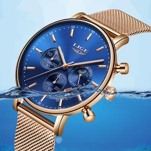 Image 5 - Lige 탑 브랜드 패션 럭셔리 로즈 골드 블루 손목 시계 캐주얼 패션 여성 시계 쿼츠 시계 선물 시계 여성 montre femme