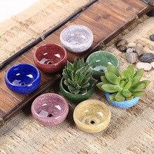 YeFine 8PCS/Lot Ice-Crack Ceramic Flower Pots For Juicy Plants Small Bonsai Pot Home and Garden Decor Mini Succulent Plant Pots