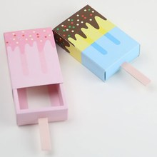 50pcs Ice Cream Gift Box Birthday Party Blue Pink Candy Shape Wedding Kids Favor Cute Pullout Tray