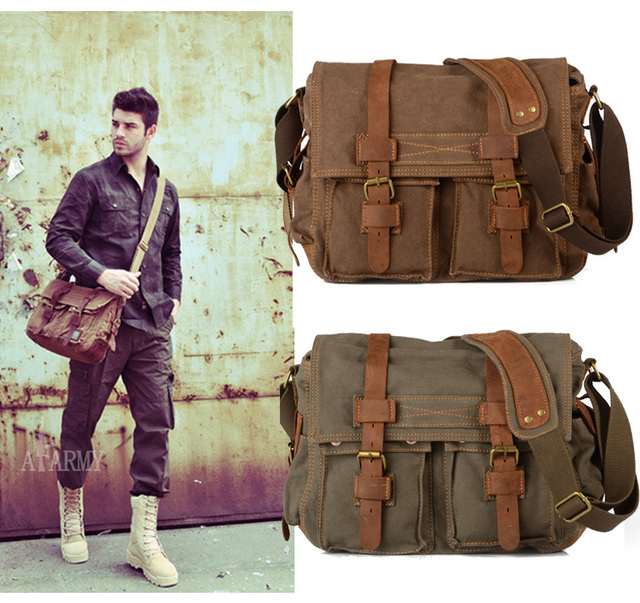0e569760e1fe Men s Vintage Canvas Leather School Military Shoulder Bag Messenger Sling  Crossbody Bag Satchel 1099