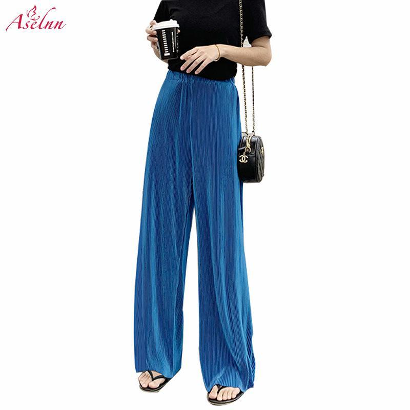 Aselnn 2019 Summer Women Super Slim Wide Leg Pants Casual Loose High Waist Pleated