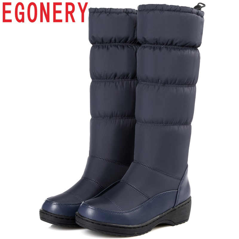 EGONERY 2018 winter down woman snow boots plush warm Spring blue mid calf boots round toe 4.5 cm heel big size 35-44 women shoes цена