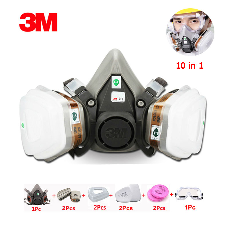 3M6200 10pcs In 1 Set Gas Mask Chemical Spray Paint Organic Gas Protective Respirator With Goggles 2091 Dust Filter Cotton