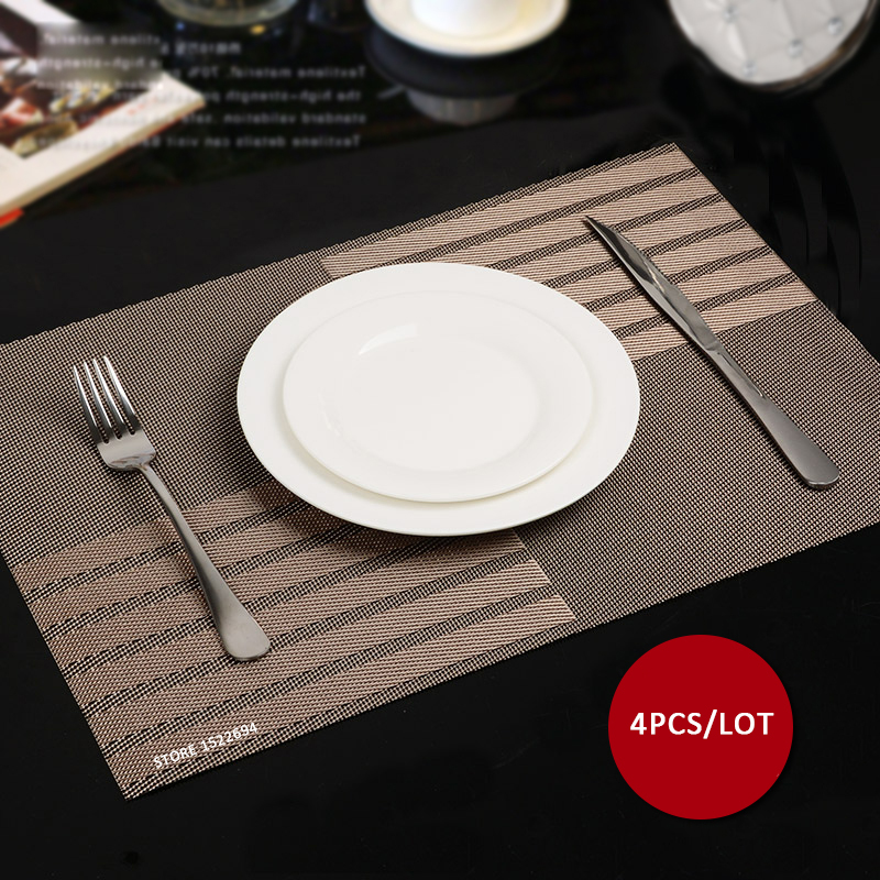 Delightful 45X30CM Non Slip Insulation Placemat Quality PVC Table Placemat Large Dinner  Mat Set Of 4PCS Table