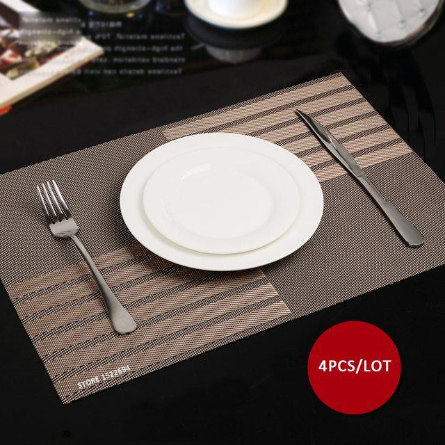 Great 45X30CM Non Slip Insulation Placemat Quality PVC Table Placemat Large Dinner  Mat Set Of 4PCS Table
