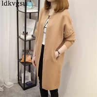 2018 New Spring Autumn Women Long Cardigan Jackets Long Sleeve Knitted Cardigans Female Outerwear Coat Rivet Sweaters A438